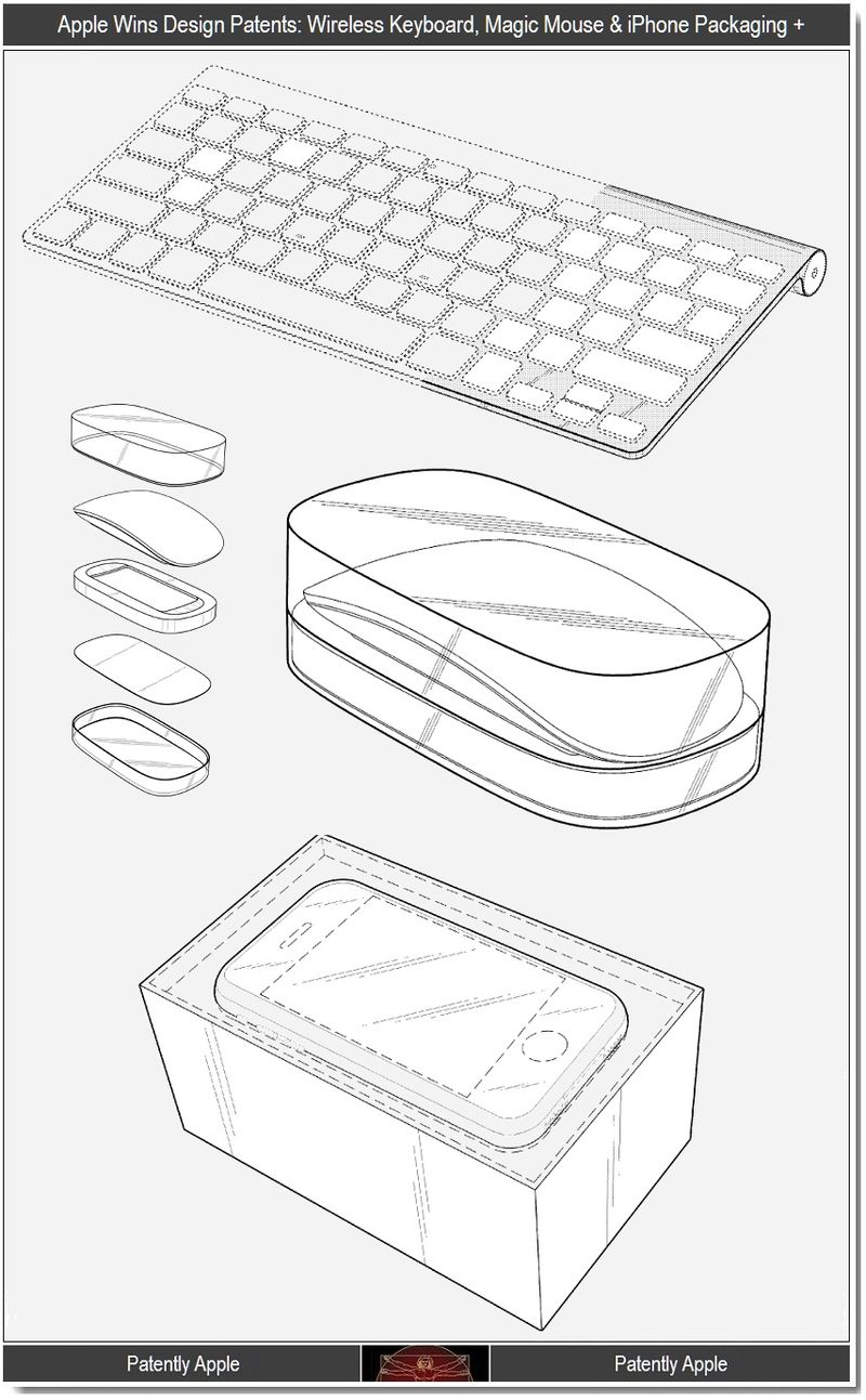 3 - Apple design patents, wireless keyboard, pkg for mouse and iphone +
