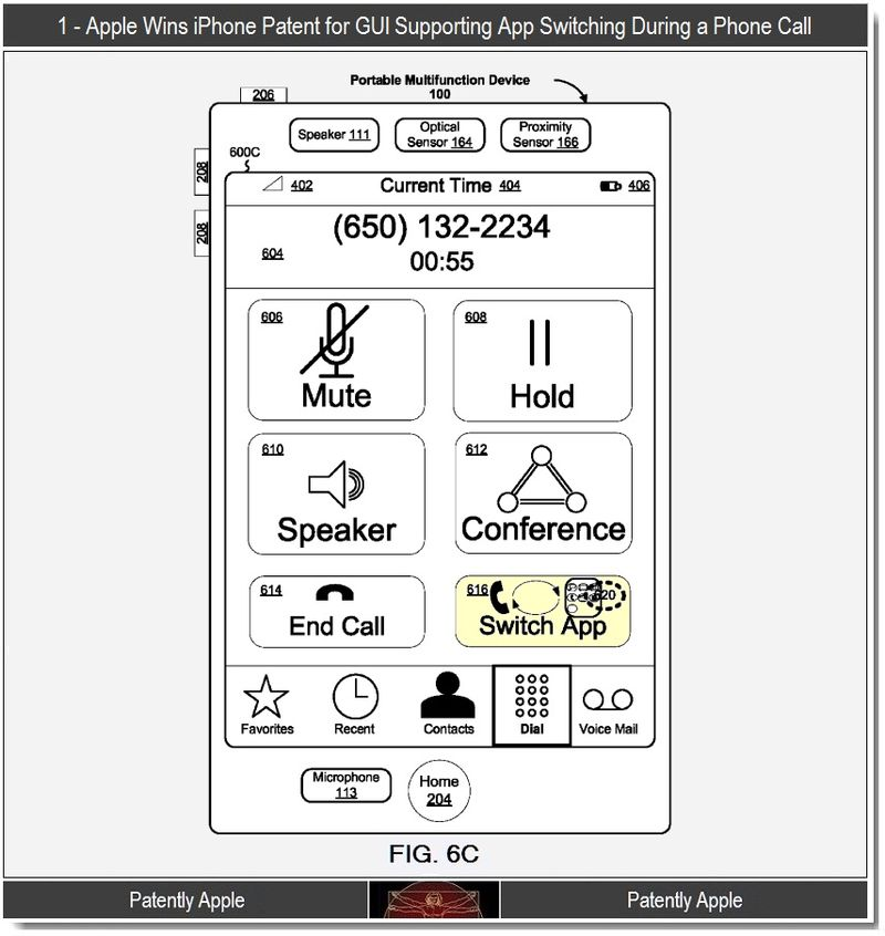 2 - Apple, iPhone Patent, GUI supporting app switch during call