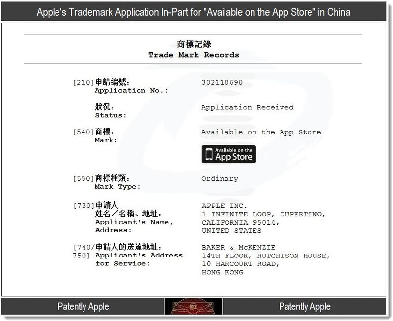 2 - Apple's Application in-part for - available on the App Store - trademark in china