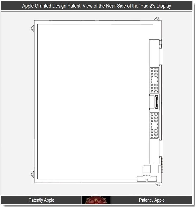 5 - Apple granted design patent - rear side view of iPad display