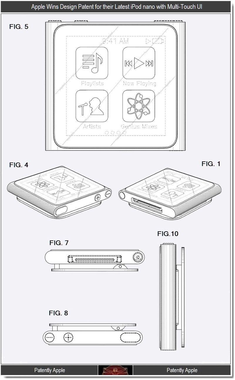 2 - Apple Wins Design Patent for their latest iPod nano with Multi-Touch UI