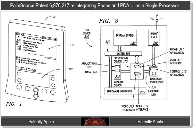 2 - Palmsource patent 6976217 phone & PDA UI on a single processor