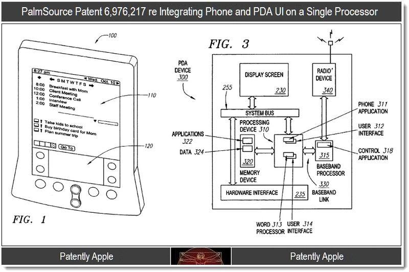 2 - Palmsource patent 6976217 phone & PDA UI on a single processor