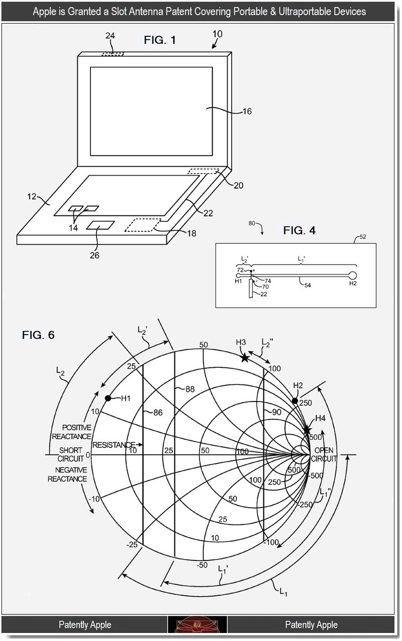 4 - Apple patent for slot antennas for portable, ultraportable devices