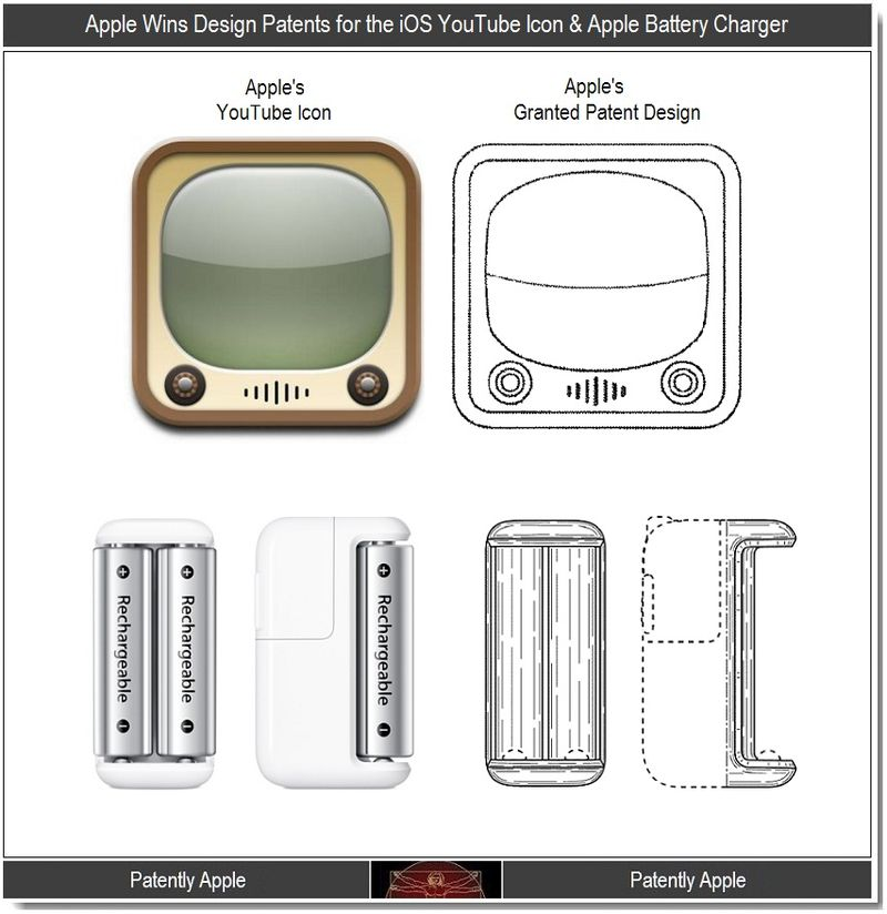 5 - Apple Design Patents for the iOS YouTube Icon & Battery Charger