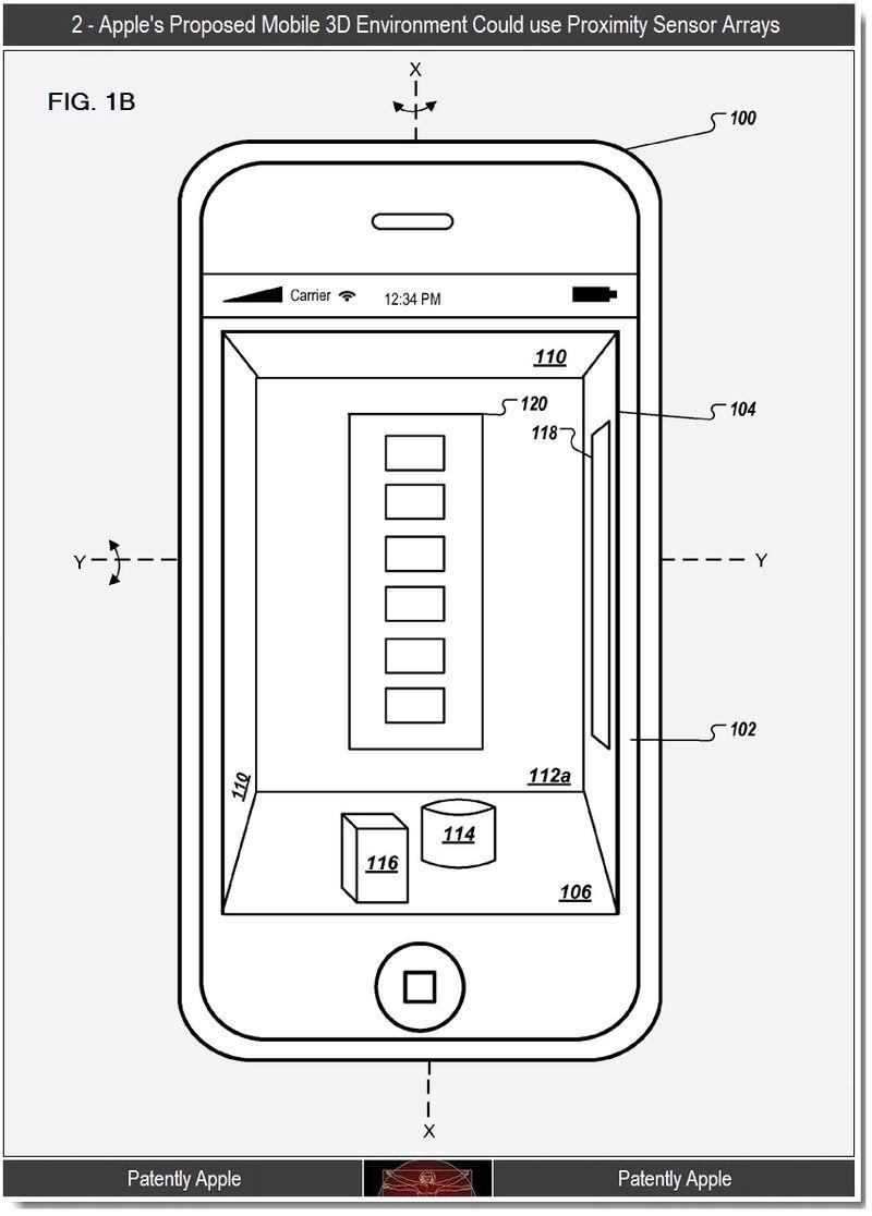 3 Fig 1B - Apple's mobile 3D UI could use proximity sensor arrays