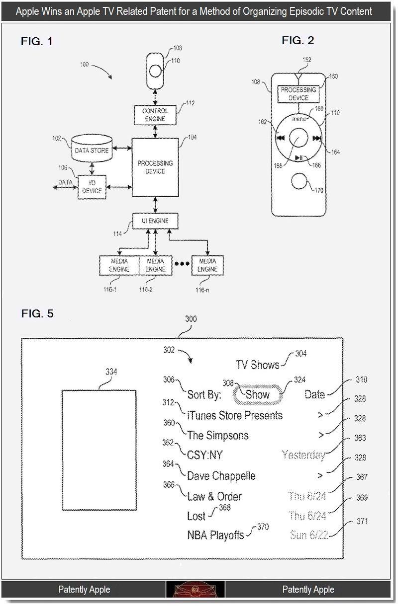 2 - Apple TV, organizing episodic TV content, patent