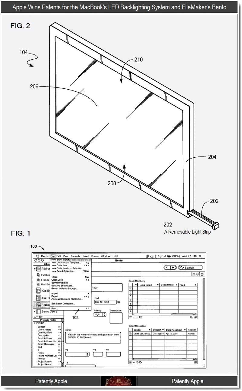 4 - Apple Wins patents for LED backlighting system and filemaker's Bento