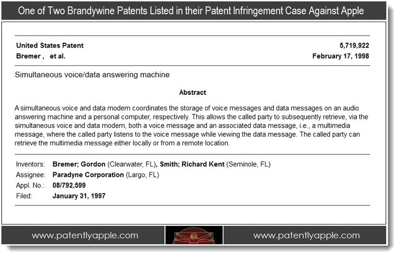 2 - Brandywine patent in case against Apple, Feb 2012