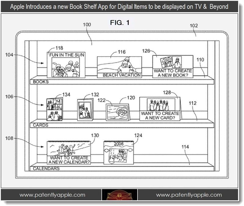 5 - Apple patent, new book shelf app for display digital items displayed on a TV +