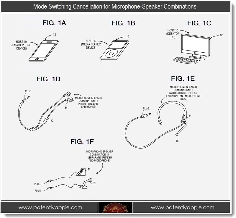 6 - apple patent, mode switching cancellation for microphone-speaker combinations