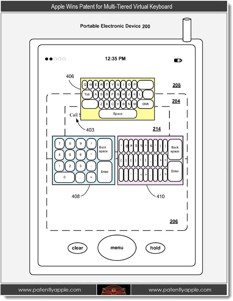2. Apple Wins patents for multi-tiered Virtual Keyboard