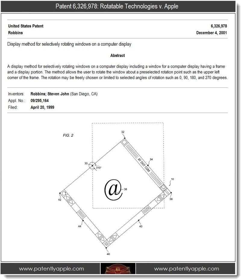 2. Patent 6,326,978 - Rotatable Technologies v. Apple