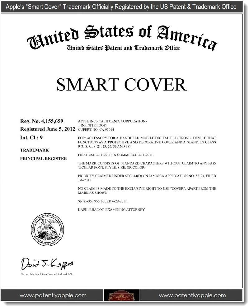3. Apple's Smart Cover Trademark Officially Registered by the USPTO June 05, 2012