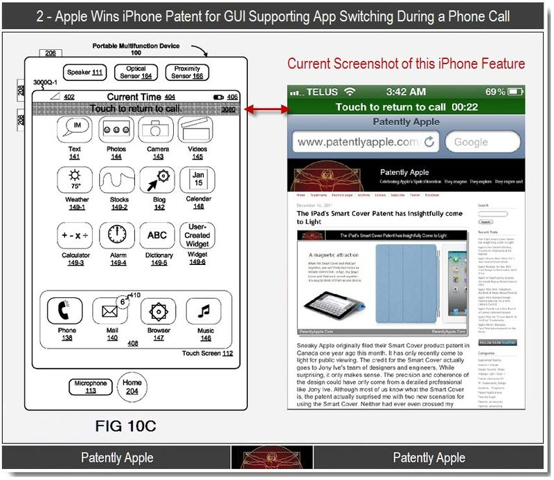3 - Apple, iPhone Patent, GUI supporting app switch during call
