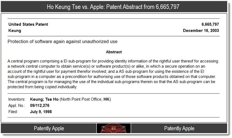 5 - Ho Keung Tse vs Apple patent abstract 6,665,797