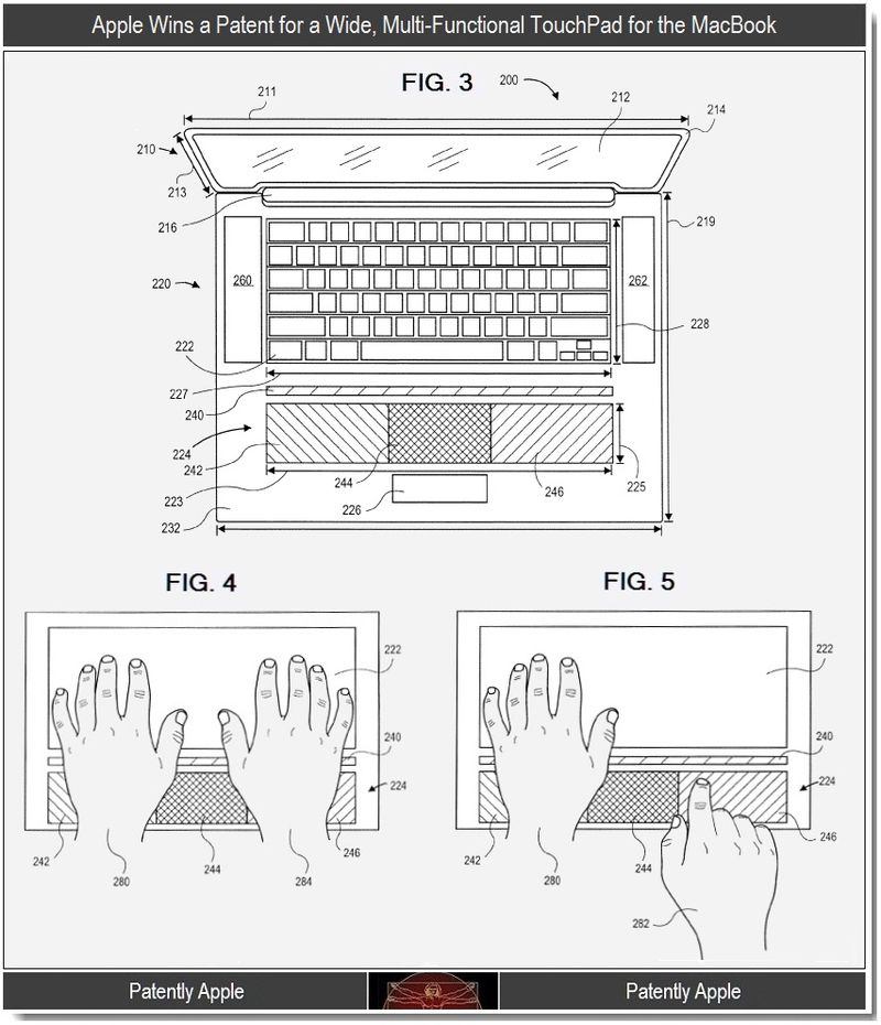 2 - Apple patent, wide multifunctional touchpad for macbooks