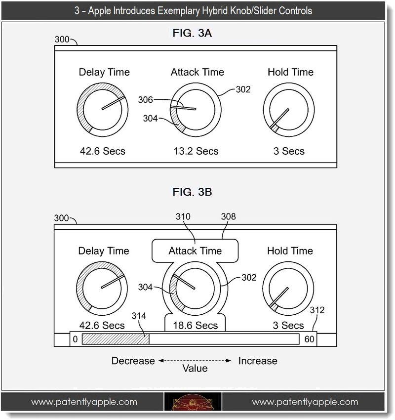 4 -  FIGS 3A,B, hybrid knob-slider controls