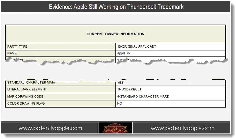 1 - Evidence - Apple Still Working on Thunderbolt Trademark