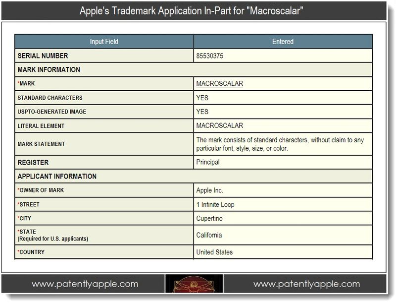 2 - Apple's Trademark Application In-Part for Macroscalar