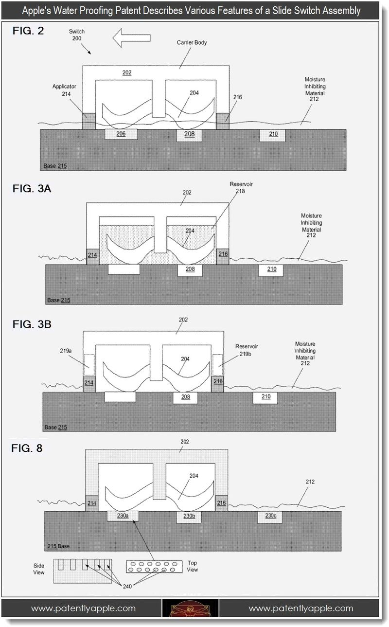 3 - Apple's water proofing patent, various slide switch assembly features