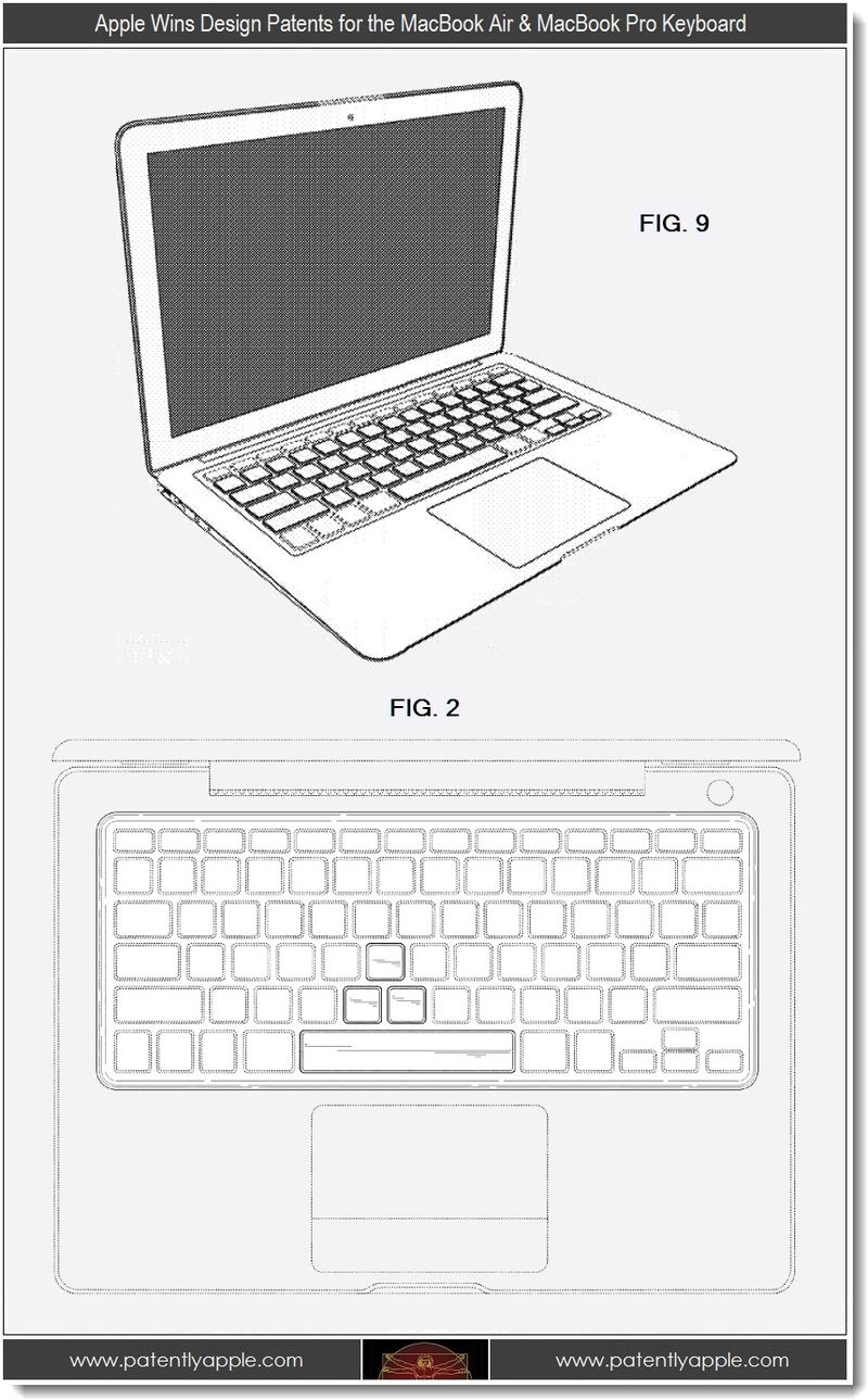 2 - Apple design patents, MacBook Air embodiment + MacBook Pro Keyboard