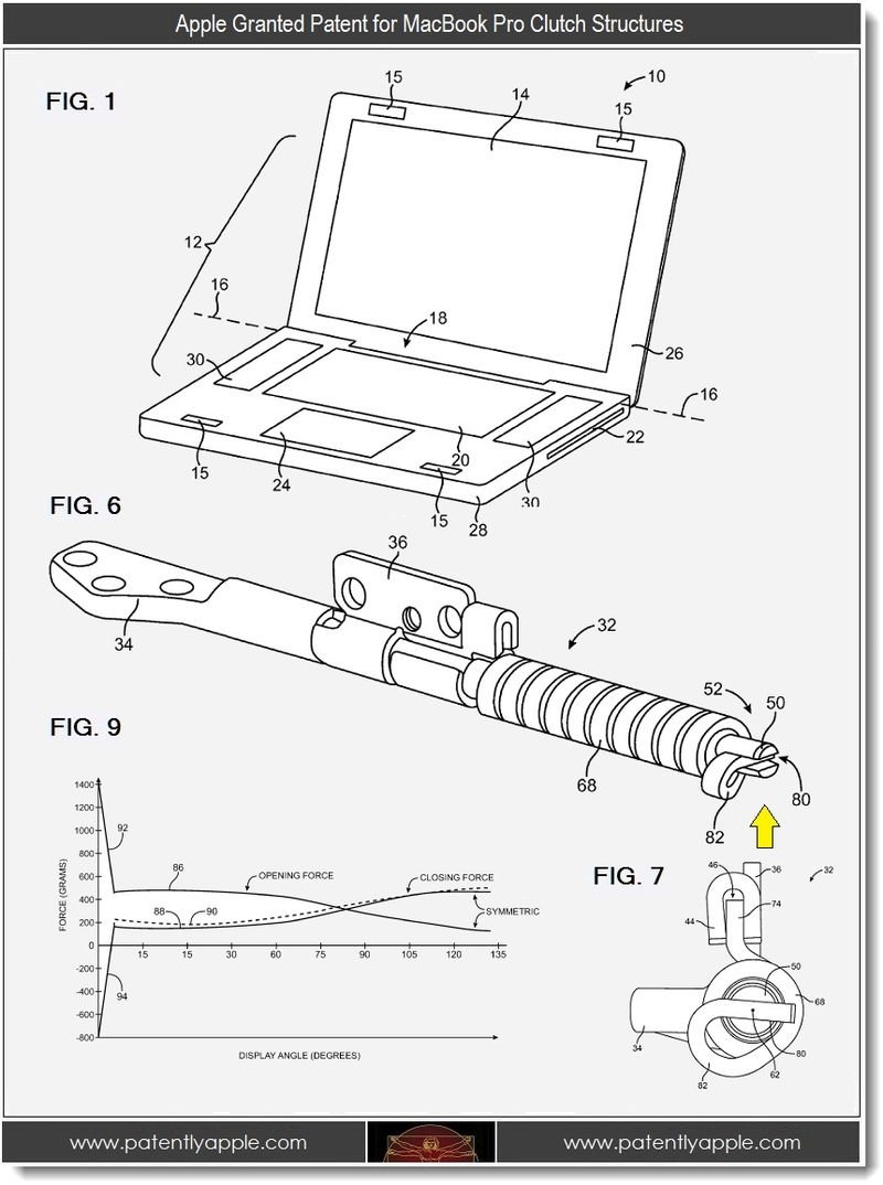 4 - Apple patent, MacBook Pro clutch structures