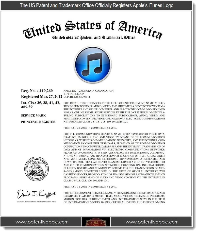 2 - USPTO officially registers Apple's iTunes Logo