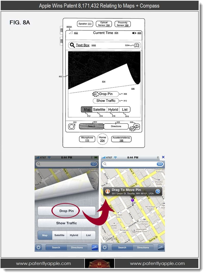 5. Apple Wins patent 8,171,432 relating to Maps + Compass