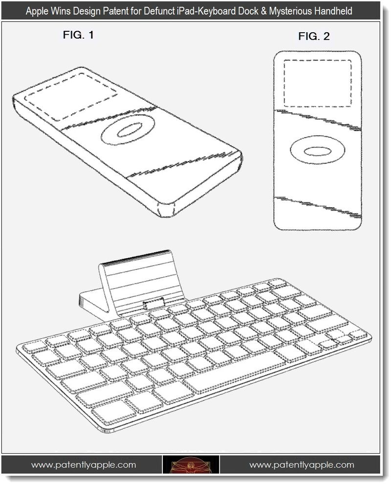 4 - apple wins design patents for defunct iPad-keyboard dock & mysterious Handheld