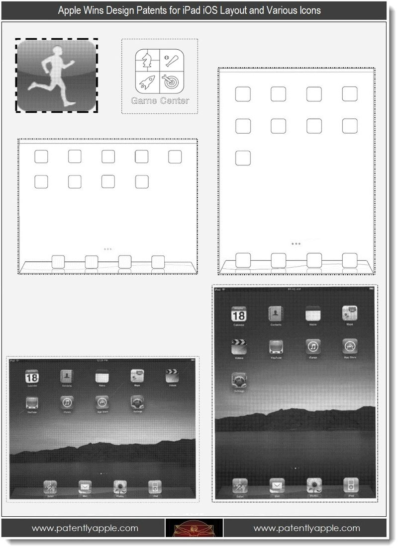 2. Apple wins design patents for iPad iOS Layout & Various Icons