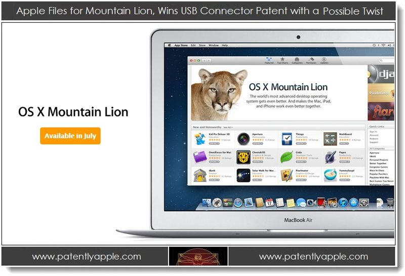 1. Apple files for Mountain Lion TM, wins USB connector patent with a Possilble Twist