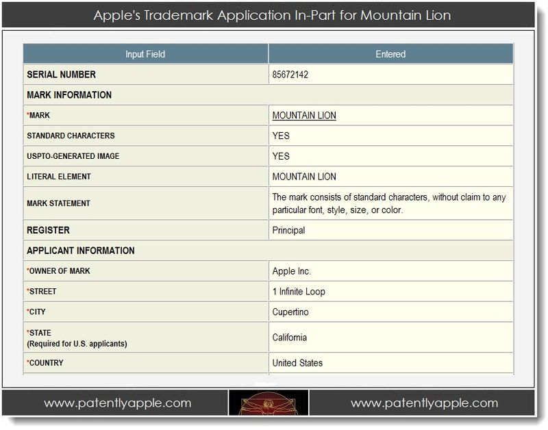 2. Apple's Trademark Application In-Part for Mountain Lion