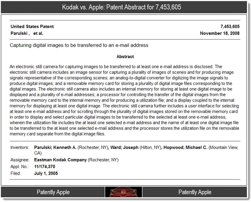 3 - Kodak vs. Apple patent abstract for 7,453,605