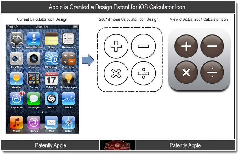 6.1 - Apple iOS Calculator icon granted patent, Jan 2012