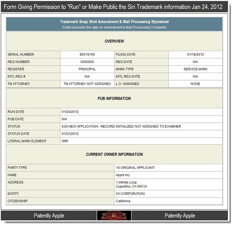 3 -  Amendment form to release Siri info on Jan 24, 2012
