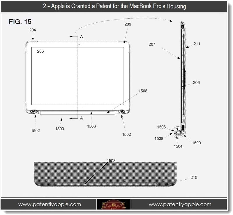 3 - 2 - Apple Patent for MacBook Pro Housing