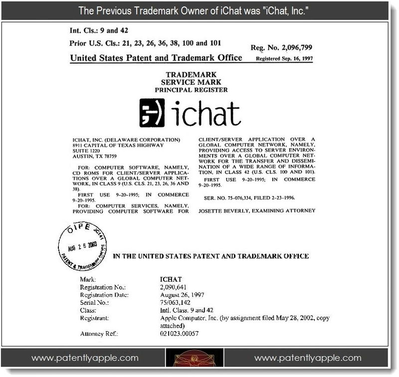 3 - Previous owner of iChat - iChat Inc, a Delaware Corporation
