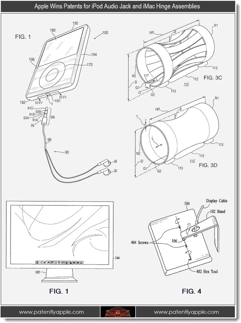 5 - Apple patent wins for audio jack and imac hinge assemblies