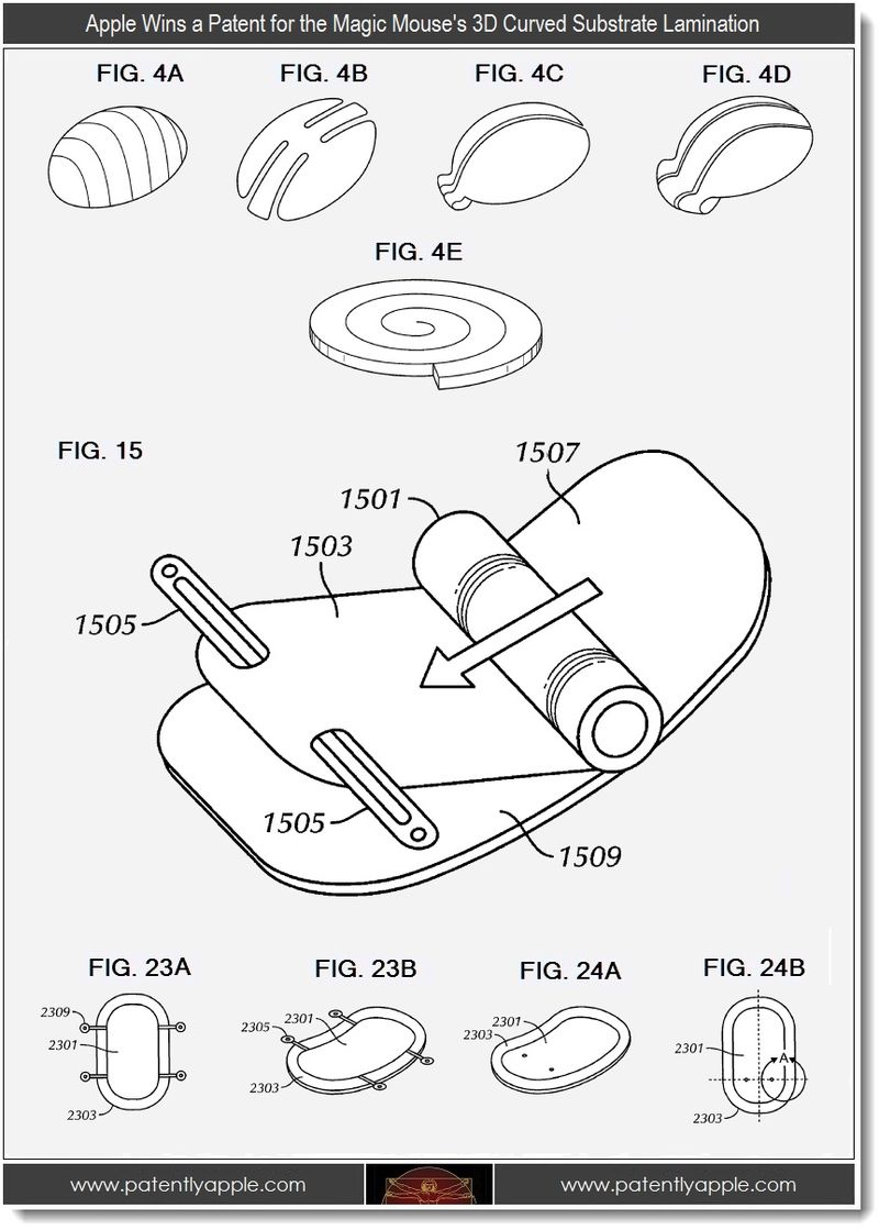 2 - Apple patent, magic mouse's 3d curved lamination
