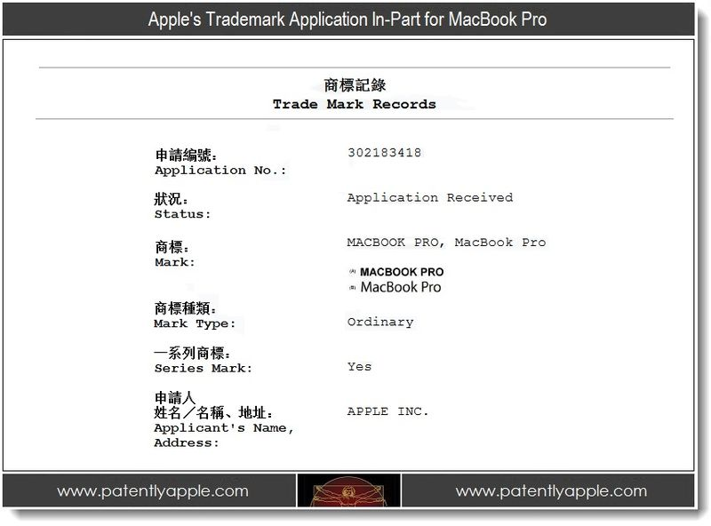 2 - Apple's Trademark Application In-Part for MacBook Pro