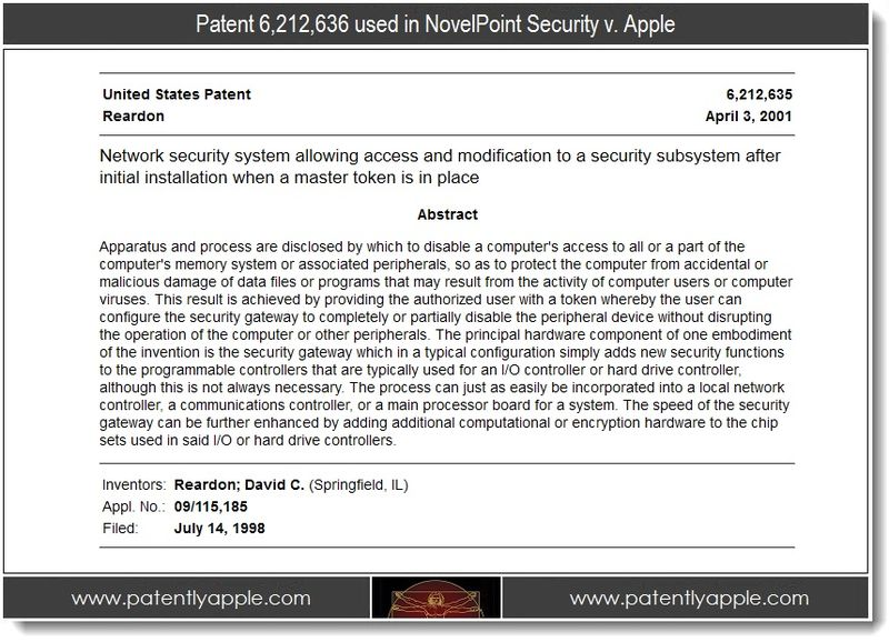4, patent 6,212,636 abstract re NovelPoint Security lawsuit