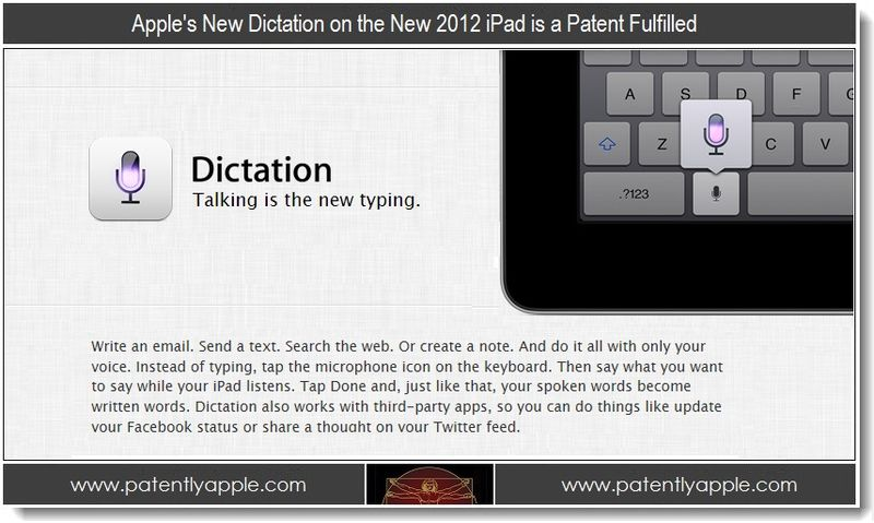 Mar 12, 2012 - Update, Dictation on iPad is a patent fulfilled