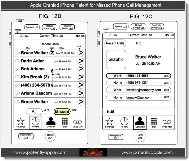 2 - Apple iPhon patent for missed phone call management