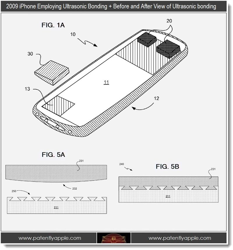 3 - older iphone employing ultrasonic bonding + before and after view of ultratsonic bonding