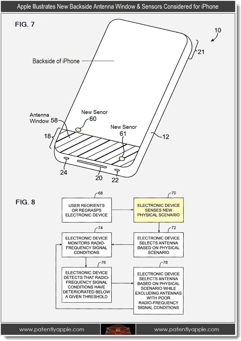 3 - Apple illustrates new backside antenna window & sensors for iPhone considered