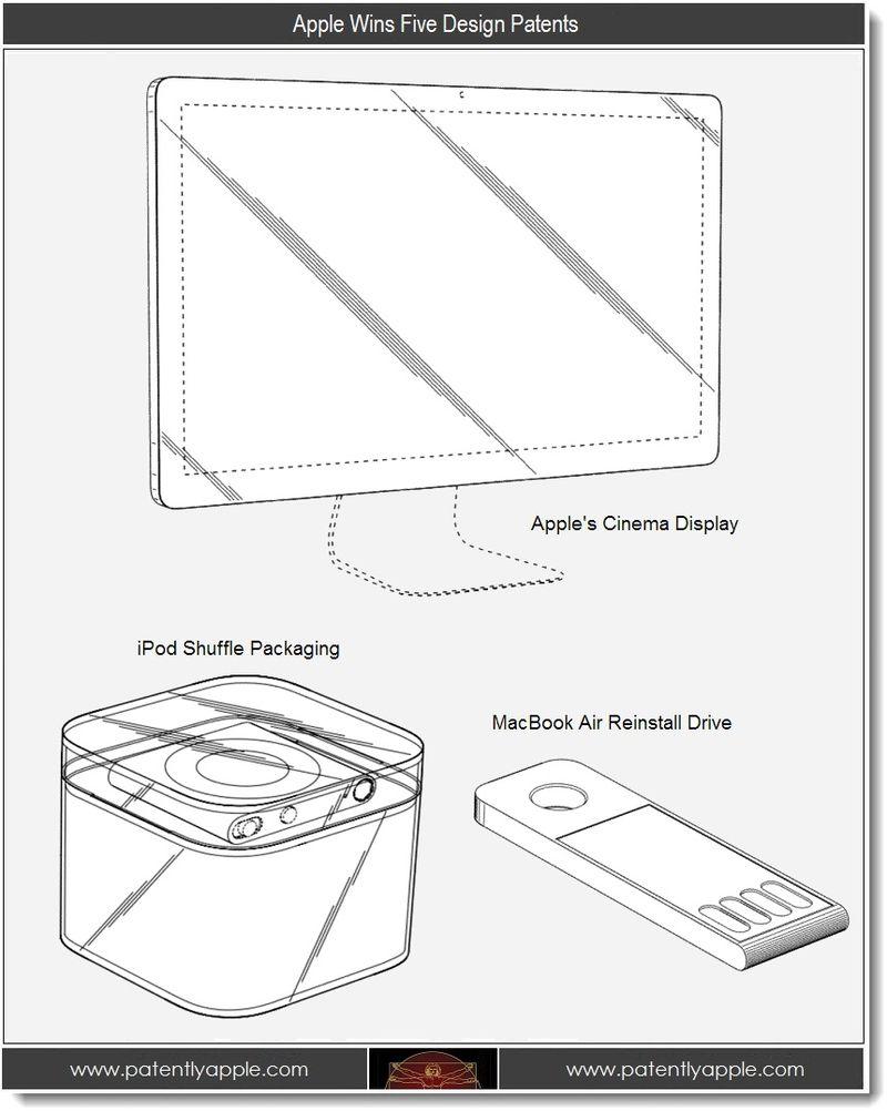 2. Apple wins 5 design patents