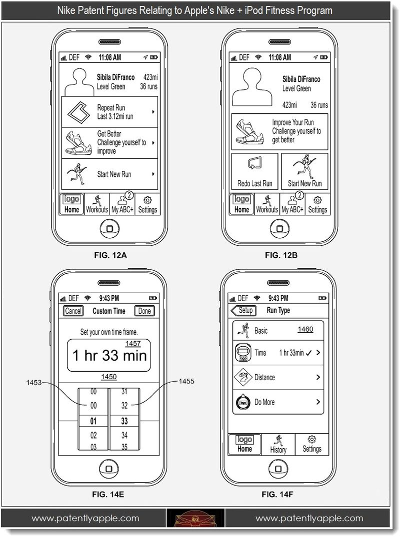 3 - Nike Patent Figures relating to Apple's Nike + iPod Fitness Program
