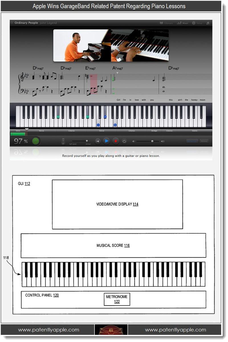 3. Apple Wins GarageBand Related Patent Regarding Piano Lessons