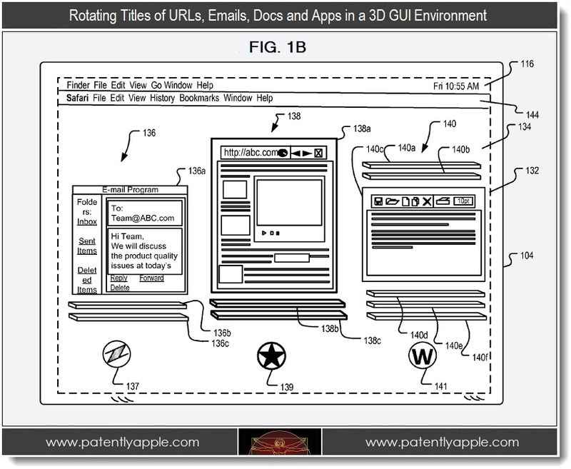 2. Rotating Titles of URLs, Emaills, Docs and Apps in a 3D GUI Environment